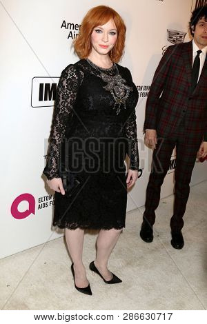 LOS ANGELES - FEB 24:  Christina Hendricks at the Elton John Oscar Viewing Party on the West Hollywood Park on February 24, 2019 in West Hollywood, CA