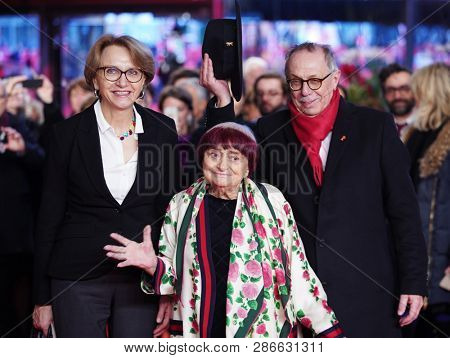 Anne-Marie Descotes, Agnes Varda, Dieter Kosslick arrive for the 'Varda By Agnes' premiere during the 69th Berlinale Festival at Palace on February 13,  2019 in Berlin, Germany.