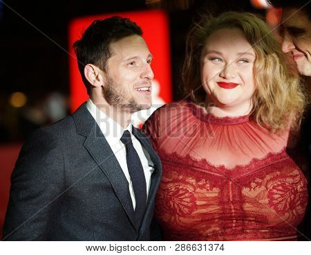 Jamie Bell, Danielle Macdonald and Guy Nattiv attend the 'Skin' premiere during the 69th Berlinale International Film Festival Berlin at Zoo Palast on February 11, 2019 in Berlin, Germany.