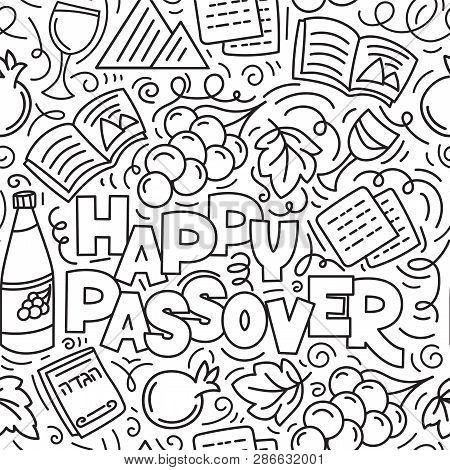Passover Seamless Pattern Jewish Holiday Pesach . Hebrew Text: Happy Passover. Black And White Vecto