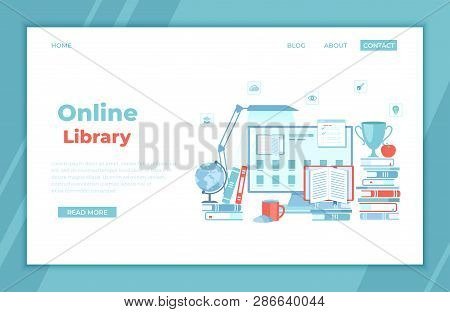 Online Library Reading E-learning Shop Monitor With Electronic Open Book, Archive, Ebook List, Stack