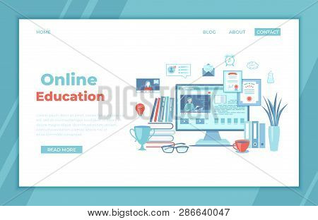 Online Education E-learning Online Training, Courses, Exams, Testing. Monitor Screen With Video Tuto