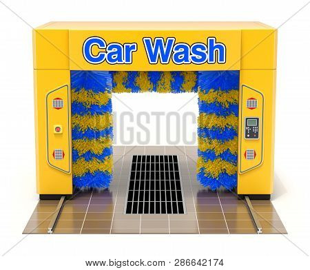 Empty Automatic Car Wash Machine On White Background - 3d Illustration