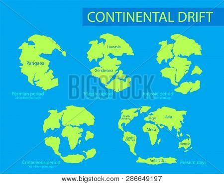 Continental Drift. The Movement Of Mainlands On The Planet Earth In Different Periods From 250 Mya T