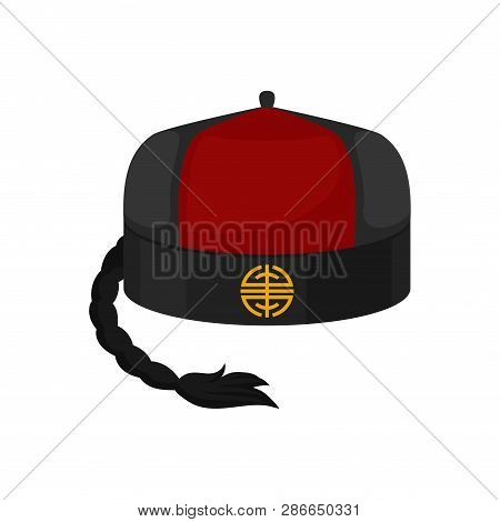 Flat Vector Icon Of Traditional Red-black Mandarin Or Landlord Hat With Pigtail. National Chinese Ma