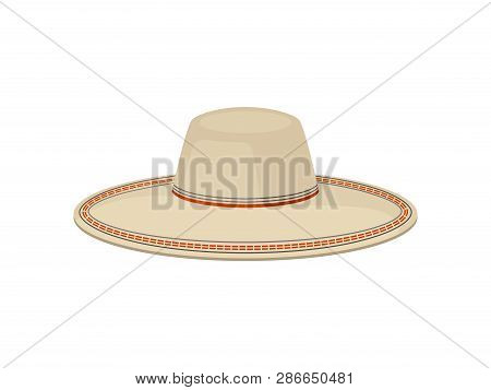 Flat Vector Of Traditional Panama Hat For Men. Sombrero Vaquero. Stylish Wide-brimmed Headdress. Fas