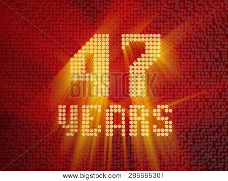 Golden Number Forty-seven Years (number 47 Years) Dotted Font, Top View, With Light Rays. 3d Render