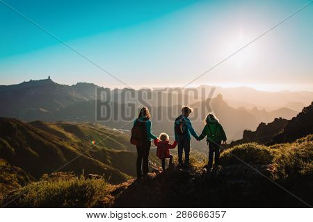 Mother With Kids Travel In Mountains, Family Hiking
