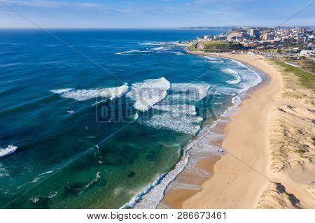 Aerial View Of Nobbys Beach - Newcastle Australia. Nobbys Beach Is One Of Newcastle Best Beaches. Ne