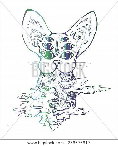 An Illustration Of A Psychodelic Cat. Black And White Drawing Of A Cat. Tattoo Idea