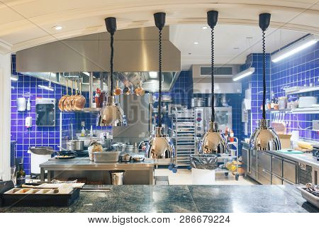 Professional Kitchen In A Restaurant. Interior Of Kitchen In Restaurant