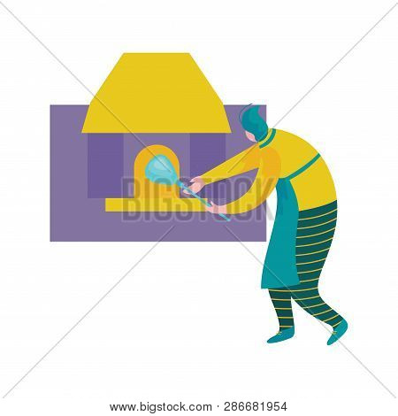 Man Working With Glass, Male Glassblower Or Glassworker Character Melting Glass In Furnace, Hobby Or