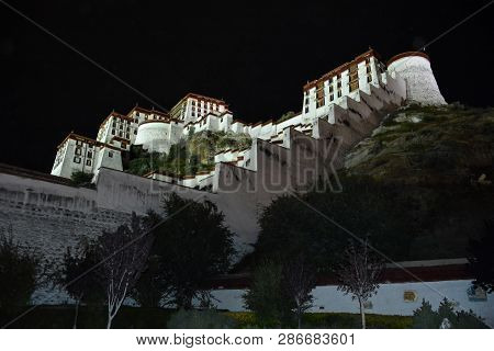 Nightscape Of The Potala Palace In Lhasa. Tibet Autonomous Region, China