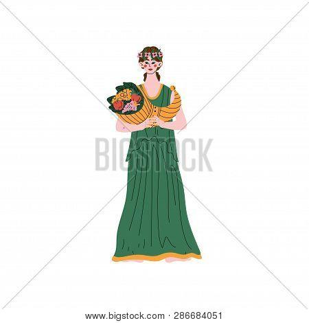 Demetra Olympian Greek Goddess, Ancient Greece Mythology Hero Vector Illustration