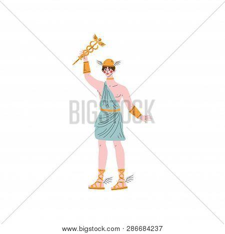Hermes Olympian Greek God, Ancient Greece Mythology Hero Vector Illustration