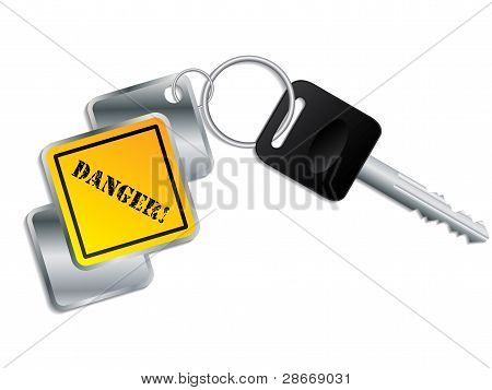 Cool Yellow-metallic Keyholder With Key