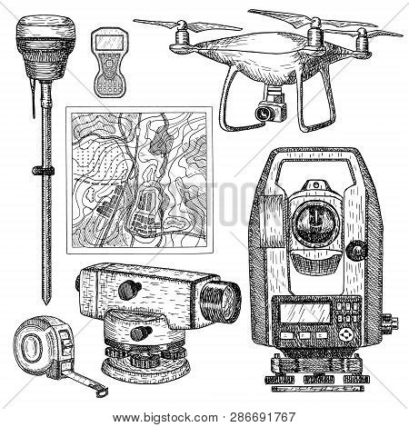 Geodetic Equipment Hand Drawn Vector Illustration. Measuring Instruments Engraved Style. Theodolite,