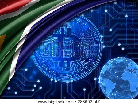 Flag Of South Africa Is Shown Against The Background Of Crypto Currency Bitcoin. Global World Crypto