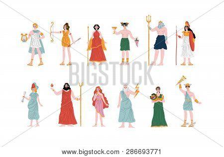 Olympian Greek Gods Set, Apollo, Hera, Dionysus, Zeus, Demetra, Hermes, Clio, Artemis, Aphrodite, Po