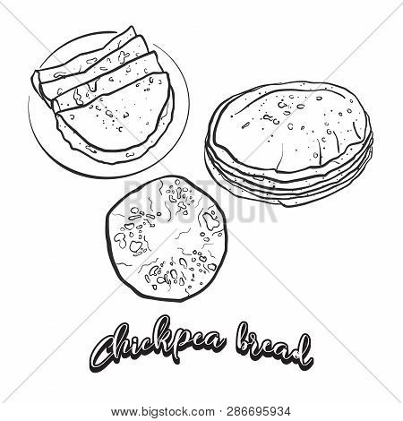Hand Drawn Sketch Of Chickpea Bread Bread. Vector Drawing Of Leavened Food, Usually Known In Albania