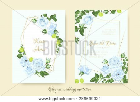Vintage Wedding Card Template, Rose Bouquet. Elegant Ceremony Invitation Design, Spring Floral Decor