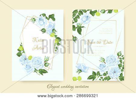 Vintage Wedding Card Template, Rose Bouquet. Elegant Ceremony Invitation Design, Spring Floral Decor