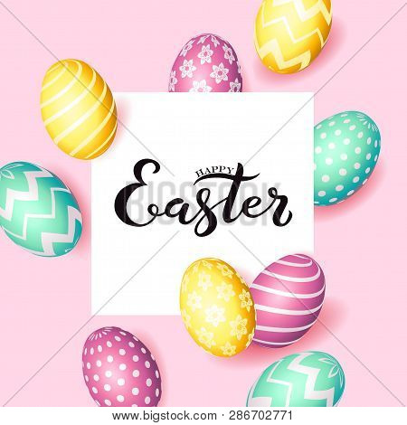 Hand Sketched Inscription Happy Easter Text, Holiday Greeting Card. Hand Drawn Easter Poster, Banner