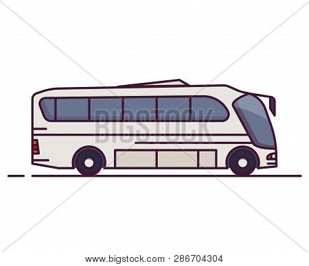 Side View Of Big White City Bus. Line Style Vector Illustration. Vehicle And Transport Banner. Moder