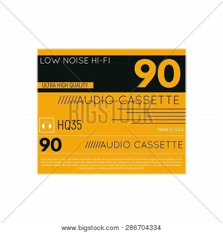 Retro Style Audio Cassette Three Side Cover. Back And Sides Of Paper Cover. Hi-fi Cassette Box Fanta