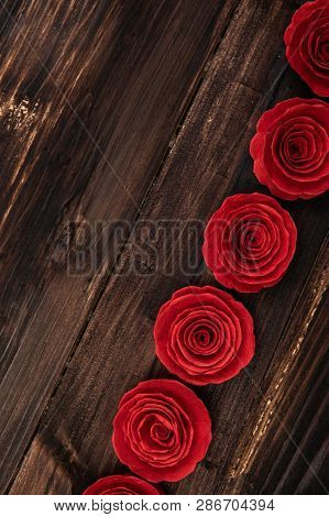 Valentine Love Heart Card Rose Gift On Wooden
