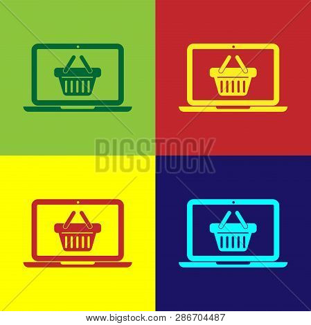 Color Shopping Basket On Screen Laptop Icon Isolated On Color Backgrounds. Concept E-commerce, E-bus
