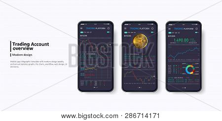 Trade Exchange App On Phone Screens. Professional Trader Tools For Successful Trading. Trading Platf
