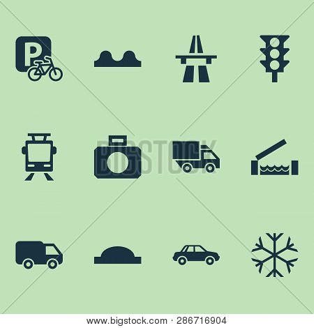 Transport Icons Set With Start Of Motorway, River, Bumpy And Other Van Elements. Isolated Vector Ill