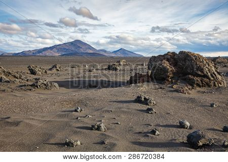 Desert sands volcanic ash and lava formations at Ódáðahraun (Lava of Evil Deeds), the largegst Icelandic lava field, Highlands of Iceland, Scandinavia