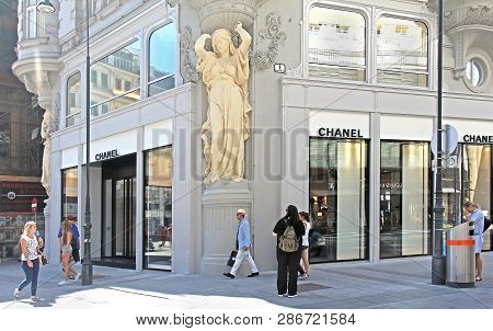 Vienna, Austria - July 11, 2015: Famous Iconic Fashion Brand Chanel Boutique Exterior In Tuchlauben