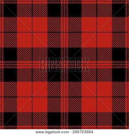 Tartan Plaid Scottish Seamless Pattern Background. Red  And  Black  Color  Wrap.  Flannel Shirt Patt