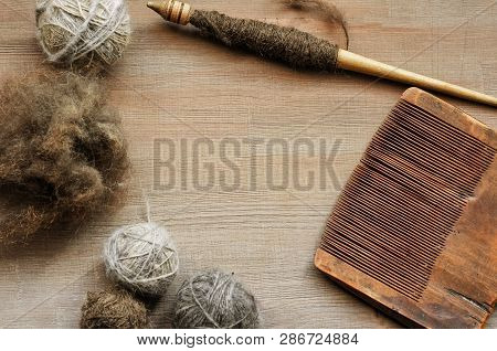 Flatlay Background With Old Female Craft Tools