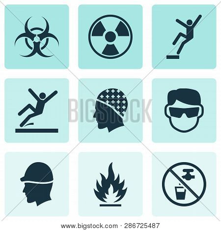 Safety Icons Set With Non Potable Water, Slippery Area, Radioactive And Other Drinkable Elements. Is