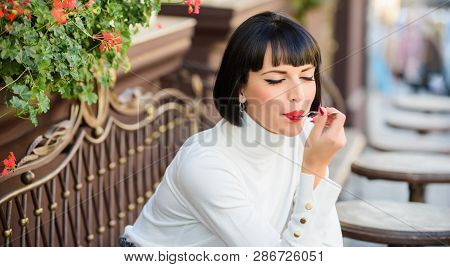 Girl Relax Cafe With Cake Dessert. Pleasant Time And Relaxation. Gourmet Concept. Delicious Gourmet