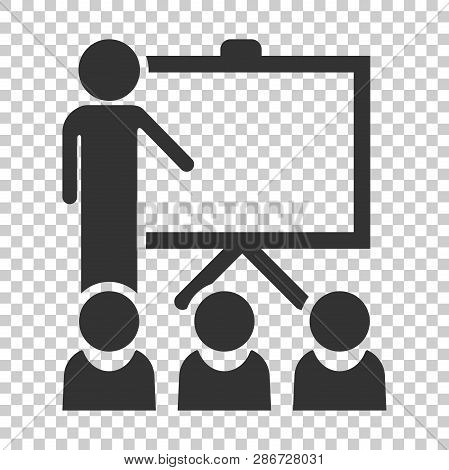 Training Education Icon In Flat Style. People Seminar Vector Illustration On Isolated Background. Sc