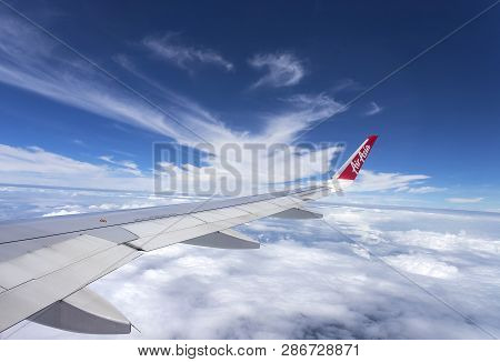 Bangkok, Thailand - August 19, 2018 : Airbus 320 Airasia, Thailand Low-cost Airline. View From The P