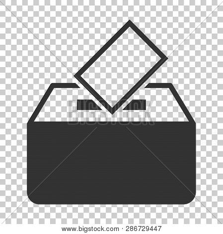 Election voter box icon in flat style. Ballot suggestion vector illustration on isolated background. Election vote business concept. poster