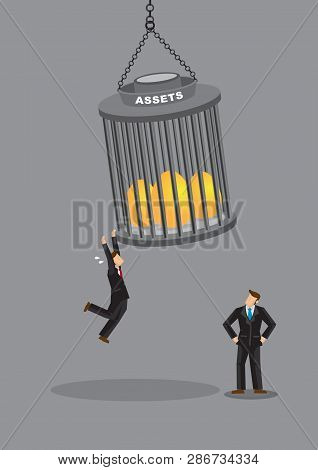 Business Professionals Hanging On To Golden Eggs Locked Up In Cage. Cartoon Vector Illustration On H
