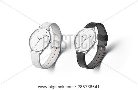 Blank Black And White Watch Wristlet Mockup Set, Isolated, Depth Of Field, 3d Rendering. Empty Class