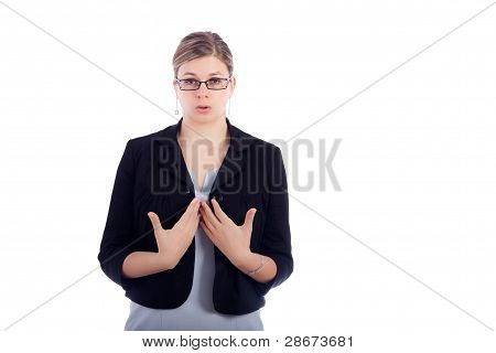 Business Woman Breathe Out To Calm Down