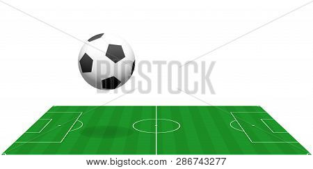 Soccer Field With Big Bouncing Soccer Ball. Perspective View From The Sideline. Vector Illustration