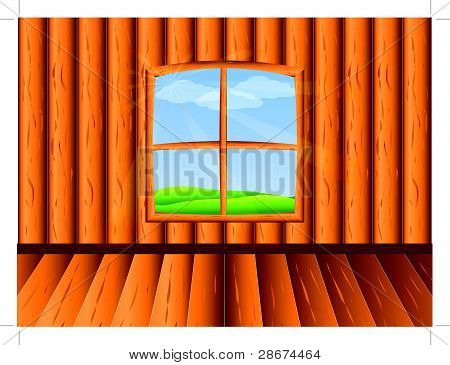 Wooden room with window