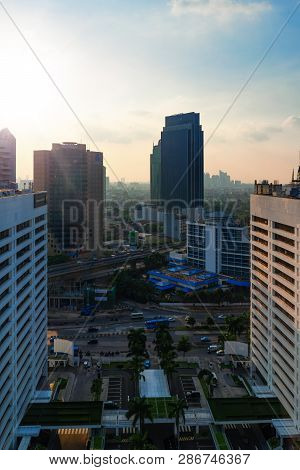 Jakarta, 28 February 2019 : View Of Jakarta City From World Trade Center Wtc Building In Front Of Le