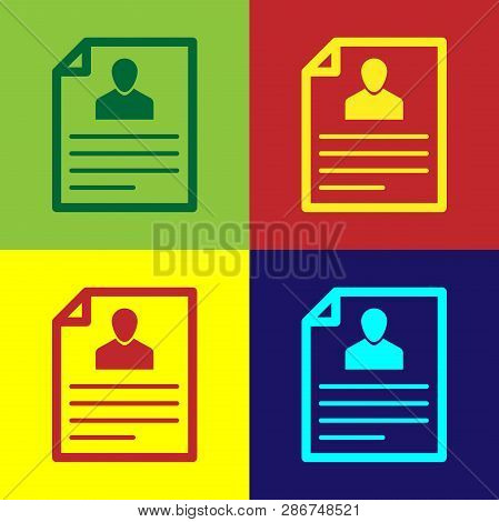 Color Resume Icon Isolated On Color Backgrounds. Cv Application. Searching Professional Staff. Analy