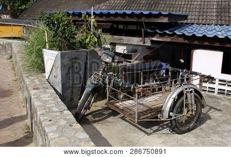 Phuket, Thailand - February 25, 2019: Motorbike With A Homemade Sidecar For Carrying Goodmotorbike W